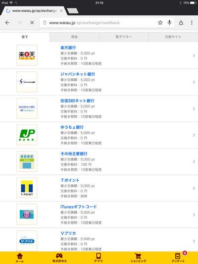 お小遣いアプリ「Warau.jp(ワラウ)」交換先リスト