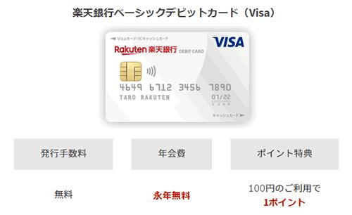 楽天デビットカード 年会費無料